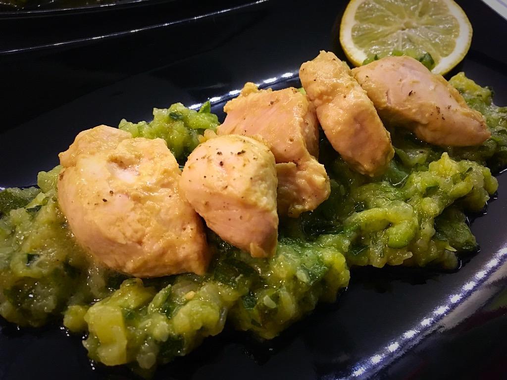 pollo alla senape con crema di zucchine