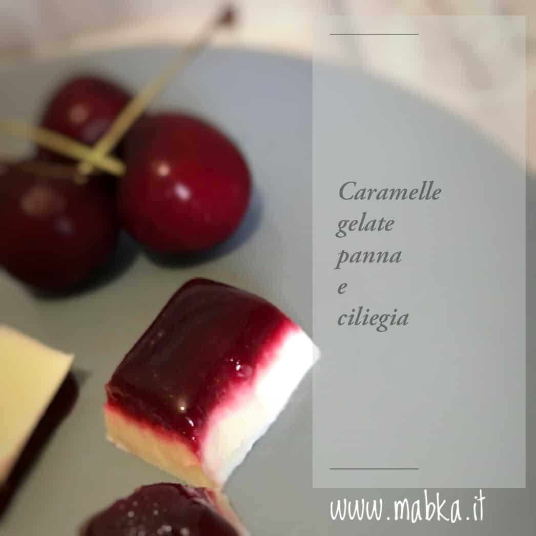 Caramelle fredde panna e ciliegie senza lattosio