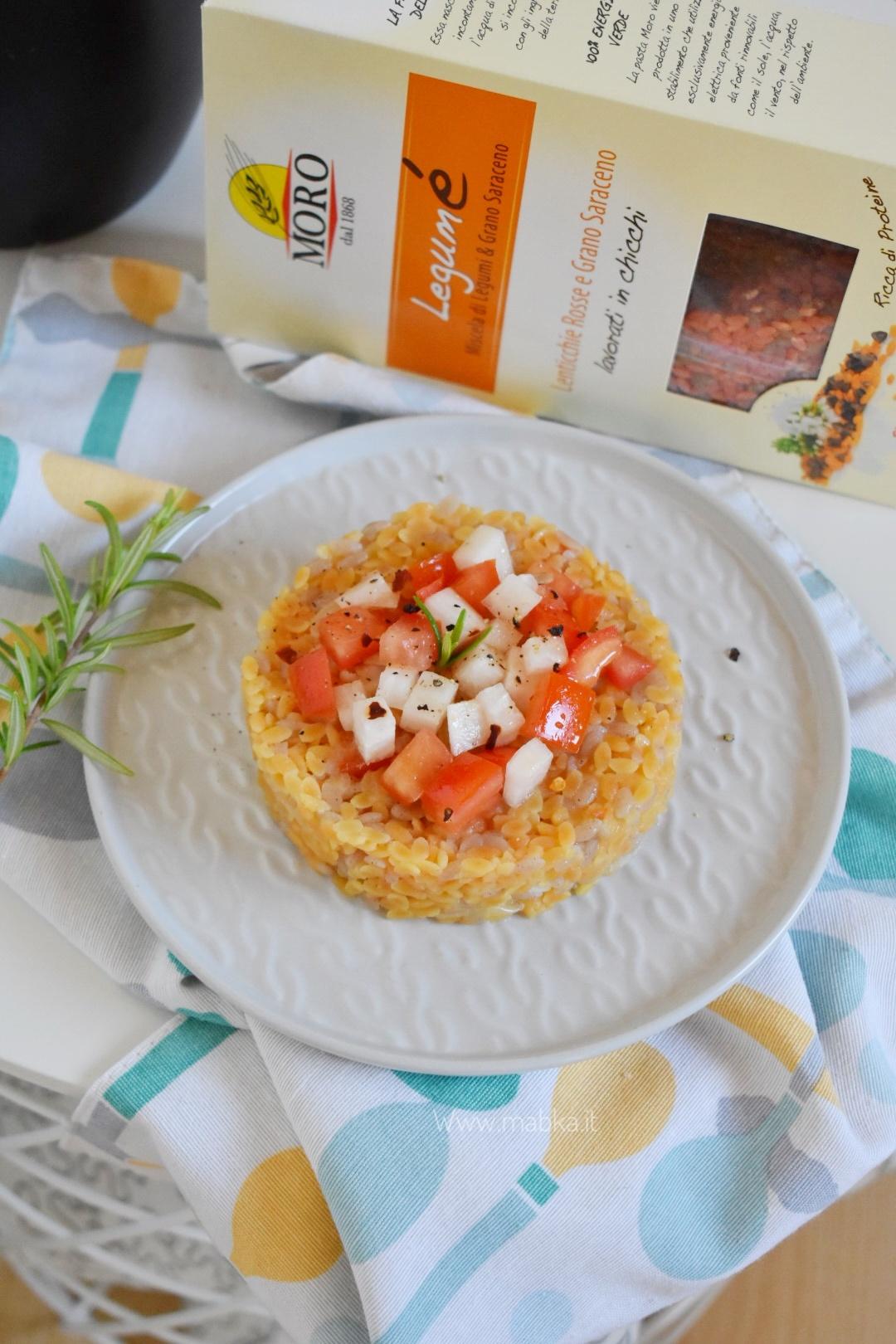 Legumè con pomodori e daikon senza lattosio