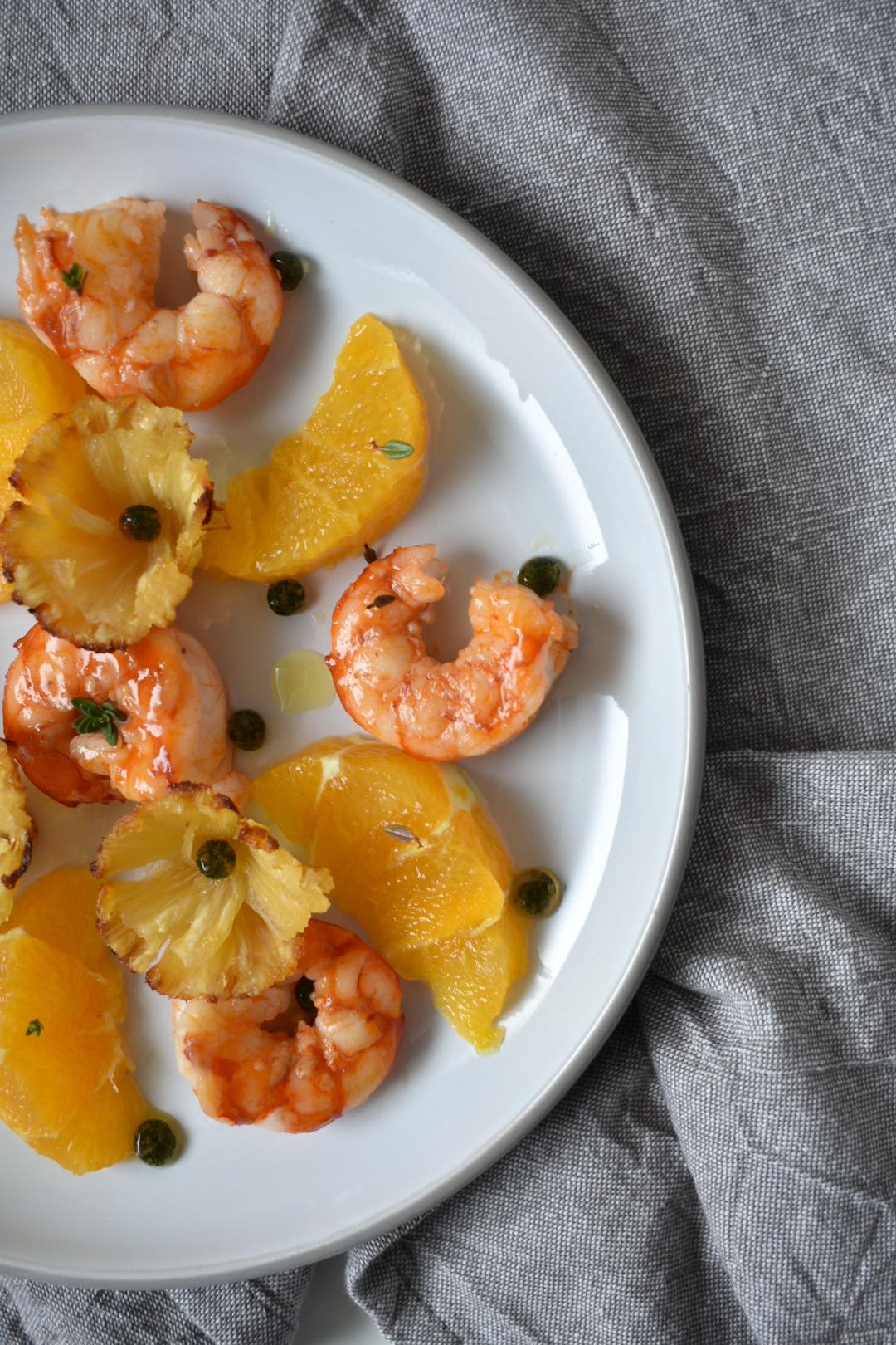 gamberi ananas e arancia